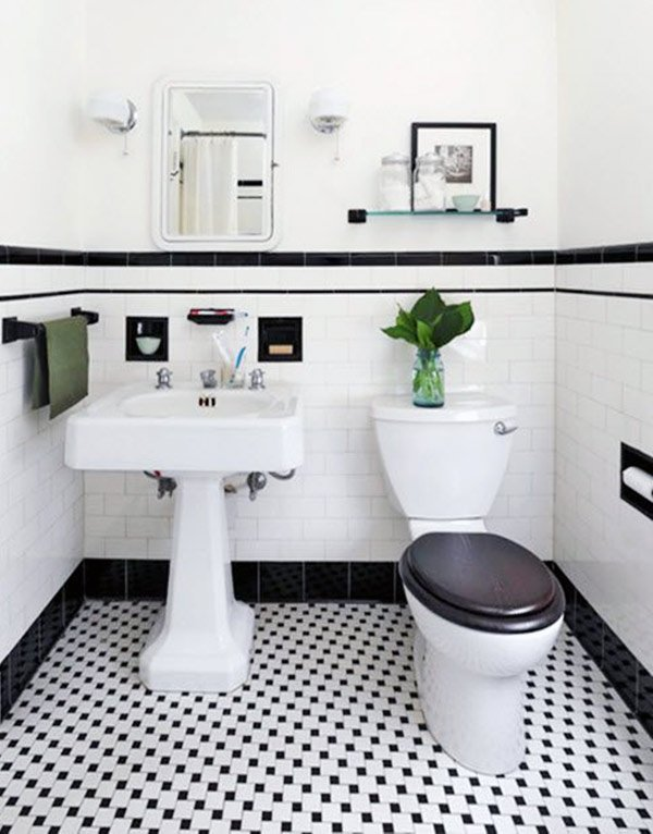 white and black retro bathroom