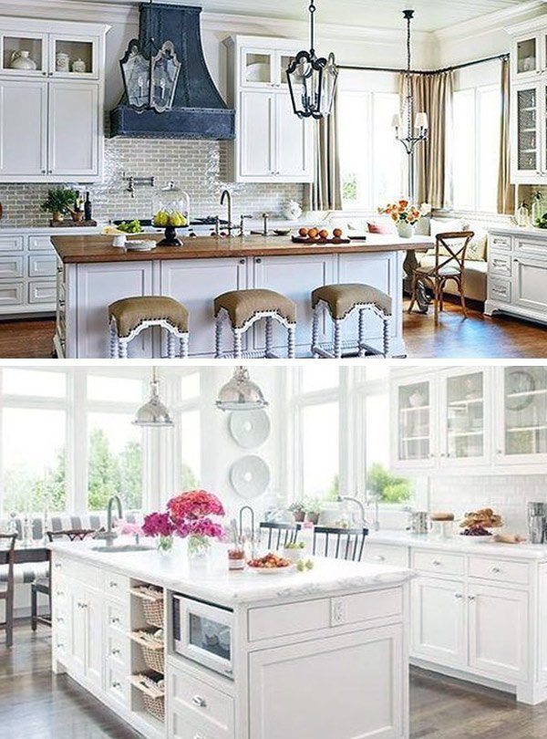 white kitchen marble and wooden tops