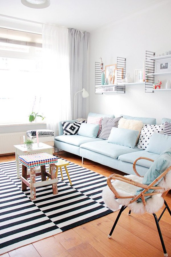 pastel blue small living room