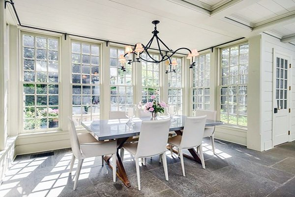 all-white dining room