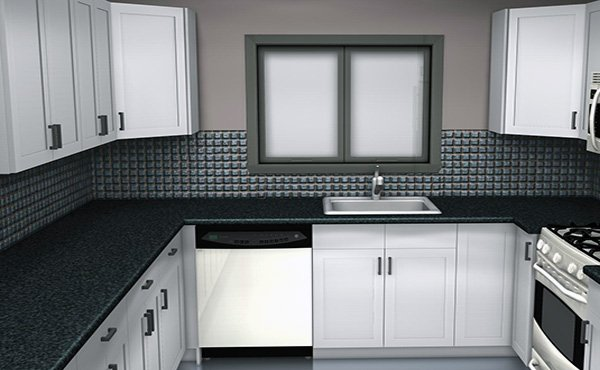 black white small kitchen design