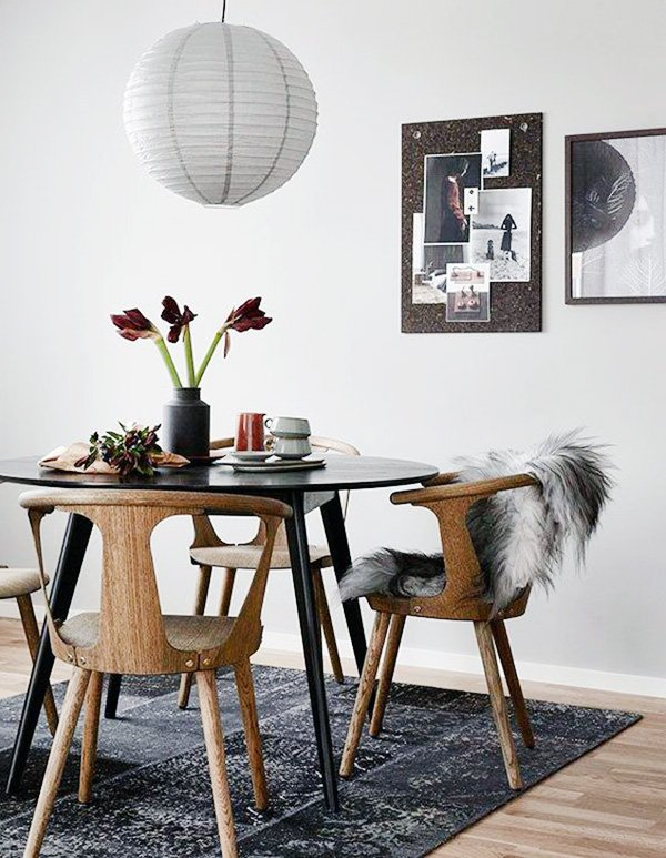 black wooden round dining table