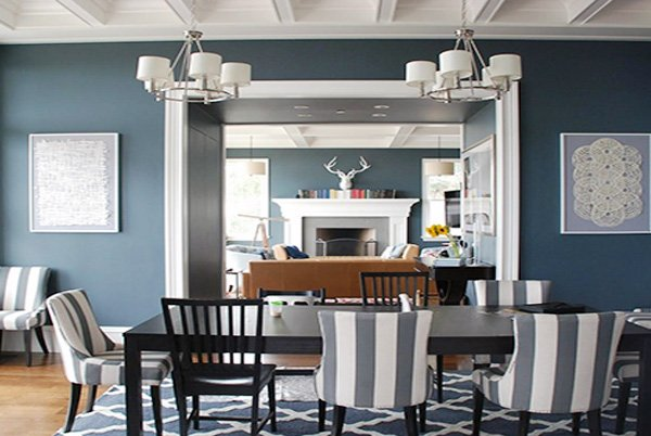 blue bright dining room design
