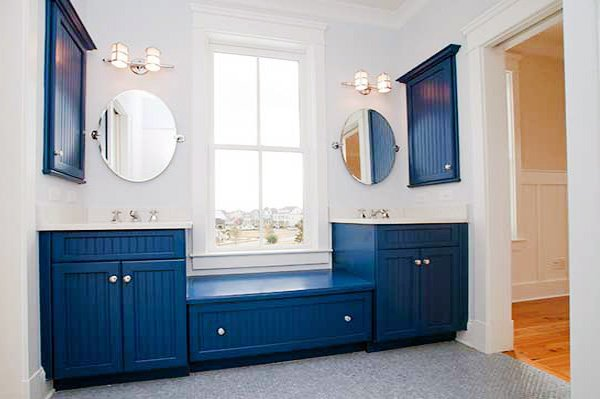 blue white bathroom cabinets