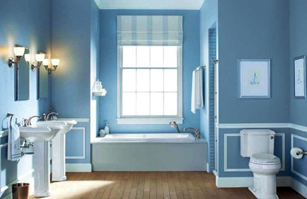 blue white bathroom design