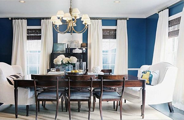 blue white dining room