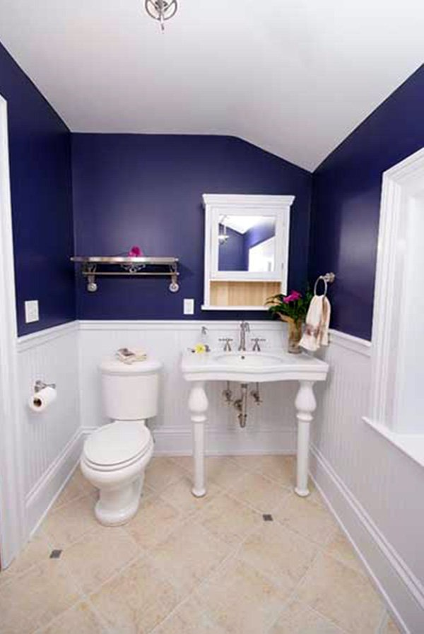 blue white small bathroom