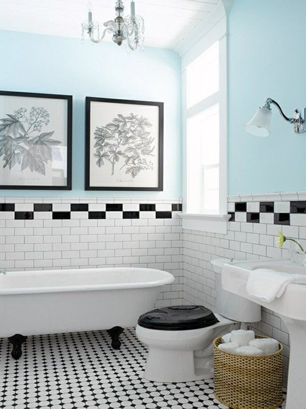 blue white vintage bathroom
