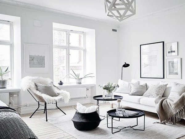 bright Scandinavian Living Room design