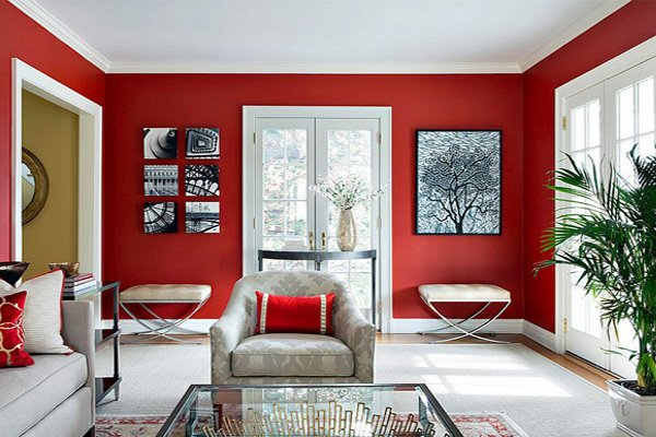 Red & White Living Room Decoration Ideas