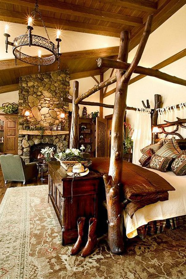 country bedroom decoration with tree concept