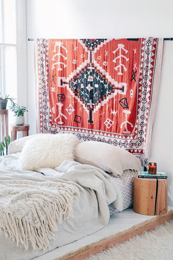 creative headboard design with Rug