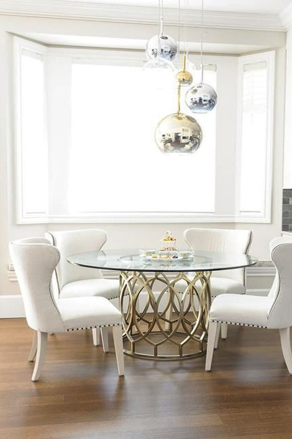glass and metalic round dining table design