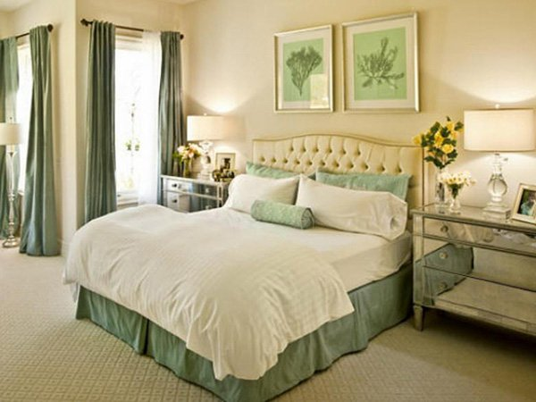 green stylish bedroom design