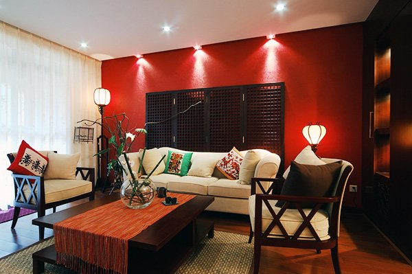 japanese style red and white living room