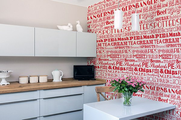 kitchen red wallpaper idea