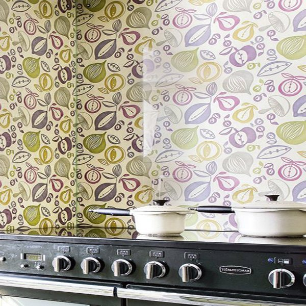 kitchen wallpaper with pastel tones