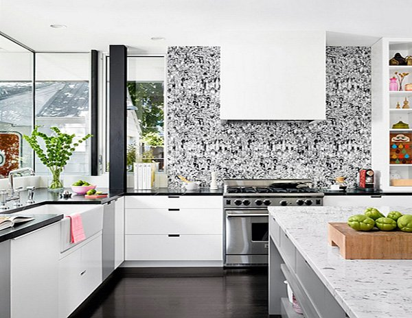 kitchen white black wallpaper idea