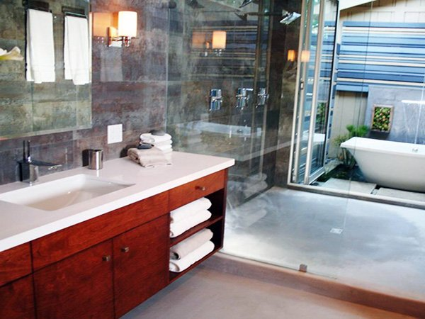 large modern bathroom sink