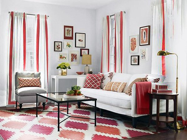 living room design with white and red curtains