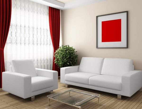 minimalist small living room design with red curtains