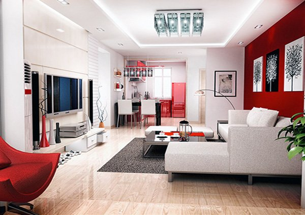 modern and fresh living room design with red wall