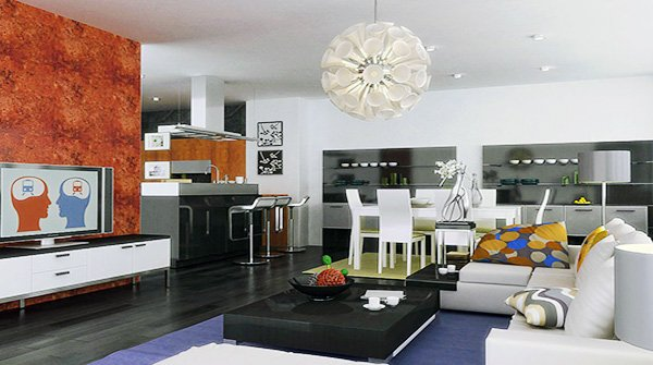 modern and well decorated L Shaped Living Room