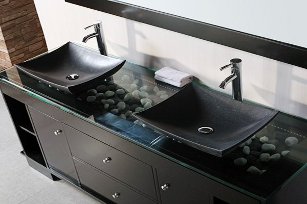 modern black bathroom cabinet design