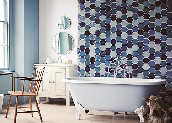 modern blue bathroom design