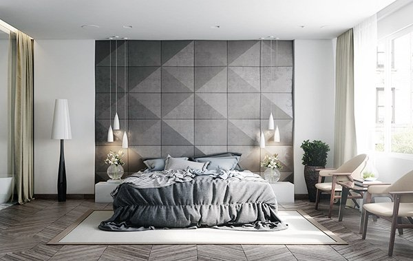 modern gray bedroom