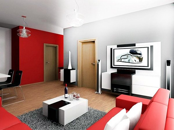 modern stylish red and white combinated living room