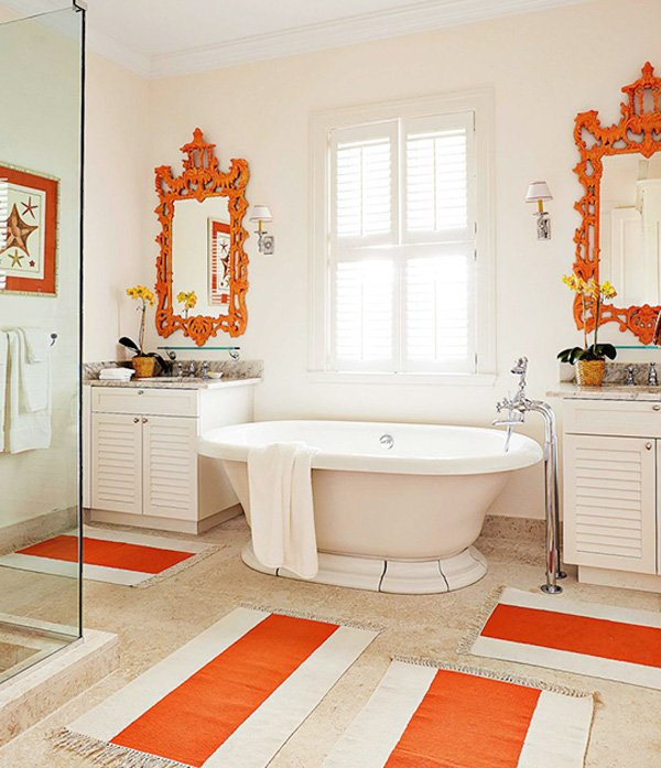 orange white bathroom design