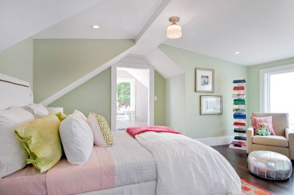 pastel green bedroom design