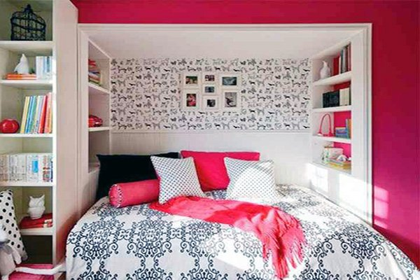pink white teen bedroom