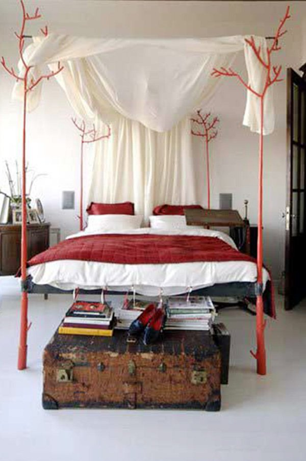 red wooden bed design