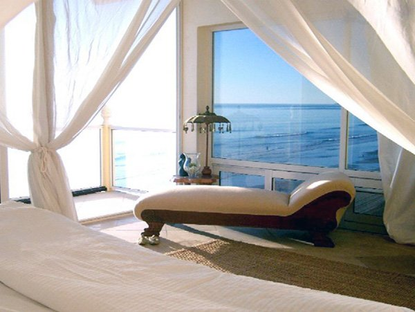 romantic bedroom with sea view