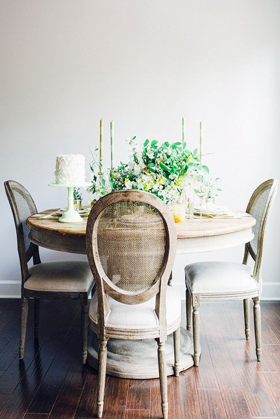 rustic round dining table and rustic wooden chair ideas