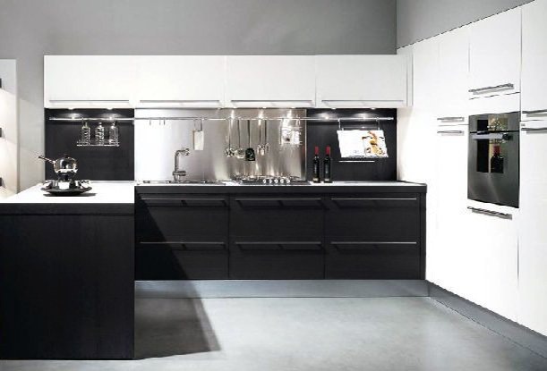 small black and white kitchen design