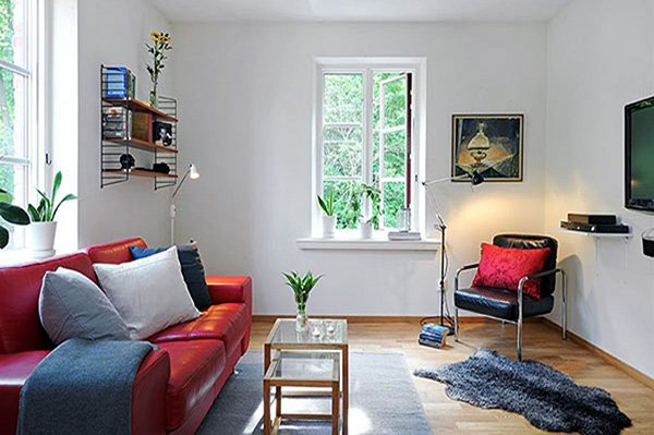 small red and white living room