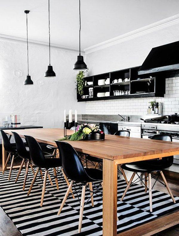 stylish and friendly black white kitchen design