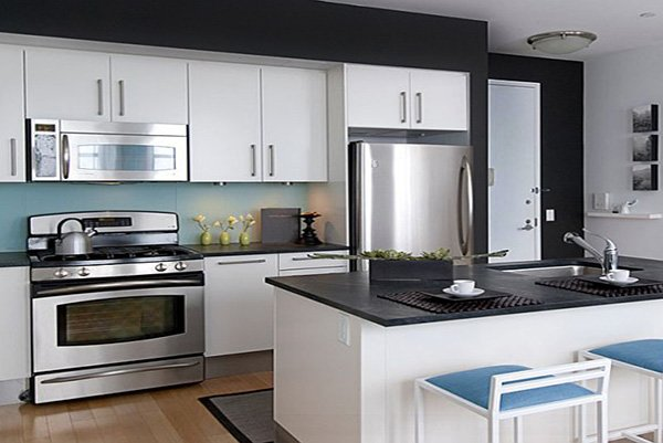 stylish black and white combinated kitchen design