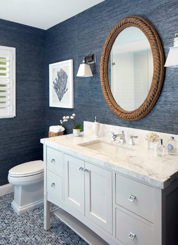 stylish blue white bathroom decorating