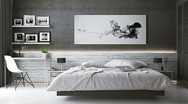 stylish large grey bedroom
