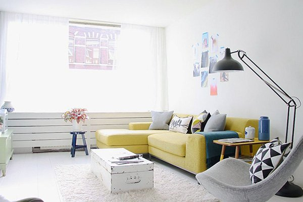 stylish small white Scandinavian Living Room