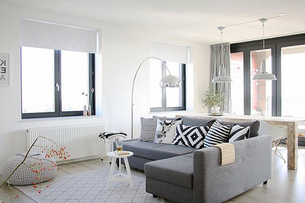 stylish white Scandinavian living room design
