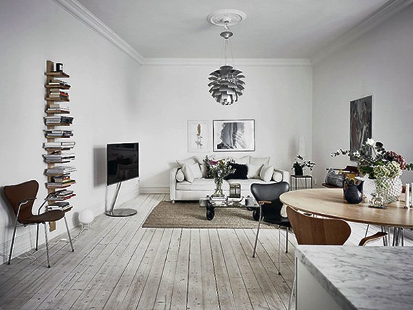 stylish white Scandinavian living room