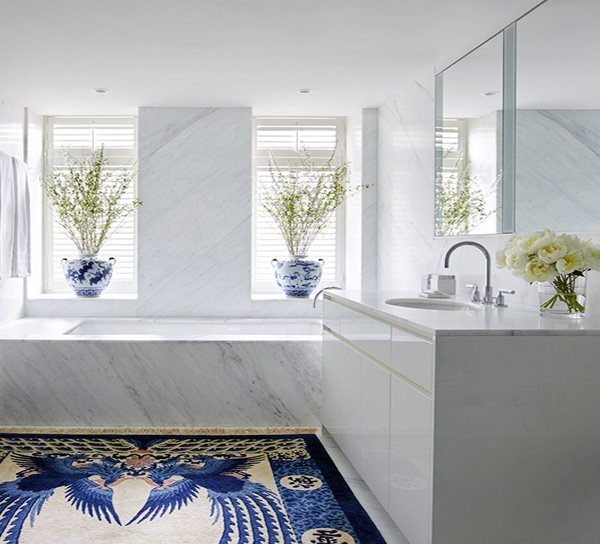 white and blue modern bathroom