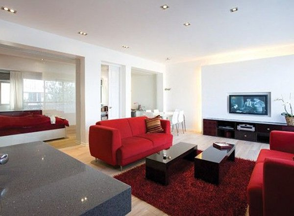 white and red big living room