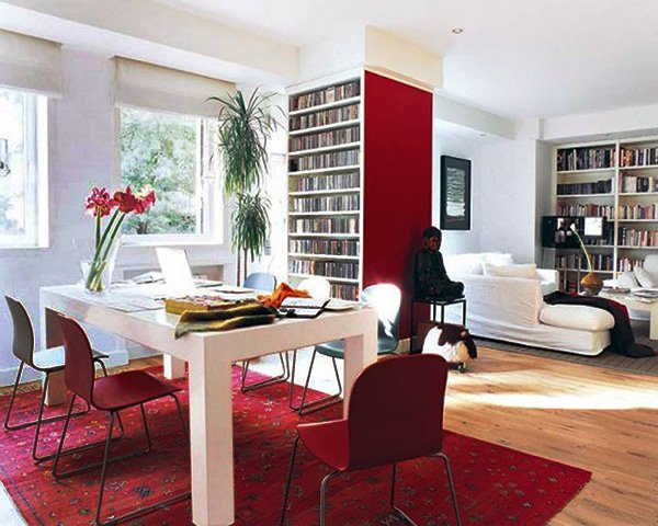 white and red charming living room decoration