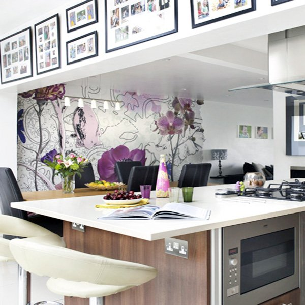 white kitchen wallpaper idea flower